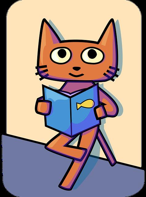 Katze Grafik Buch lesen