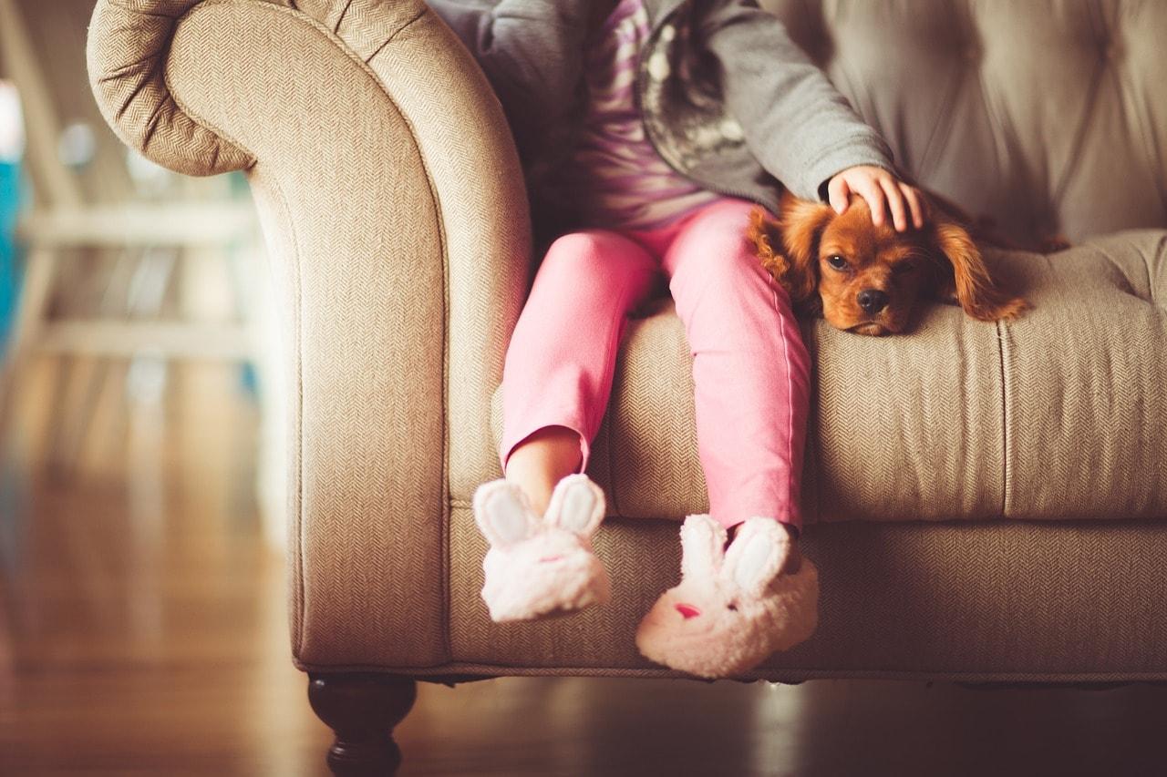 Kleines Mädchen und Kleiner Hund auf der Couch